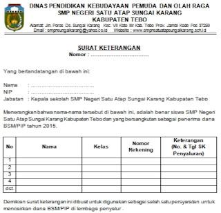 Contoh Surat Keterangan Siswa Aktif Untuk Pencairan Bsm