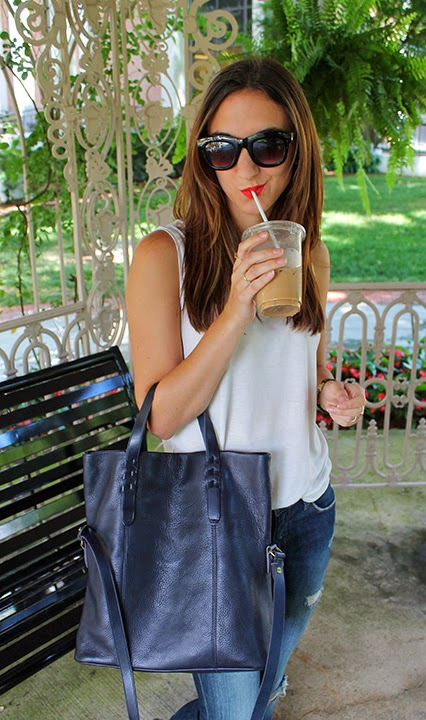 summer style, simple summer outfit, red lips, big black sunglasses, dylan tote, leather tote, navy leather purse, distressed boyfriend jeans, white tank top, kendra scott, turquoise necklace, madewell rings