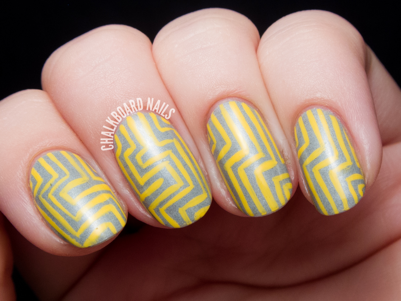 Yellow and grey angular pattern chalkboard nails nail art blog the base is misa grey matters im sure youve seen me use this before its a neutral medium grey with a slight silver shimmer and some darker flecks that prinsesfo Gallery