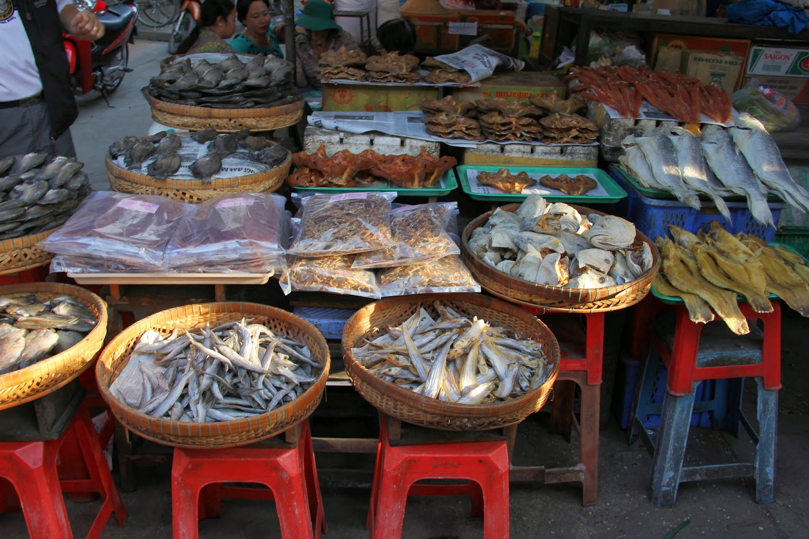 Dried, salted, pickled, preserved, fresh: fish in many forms at the Chau Doc market.