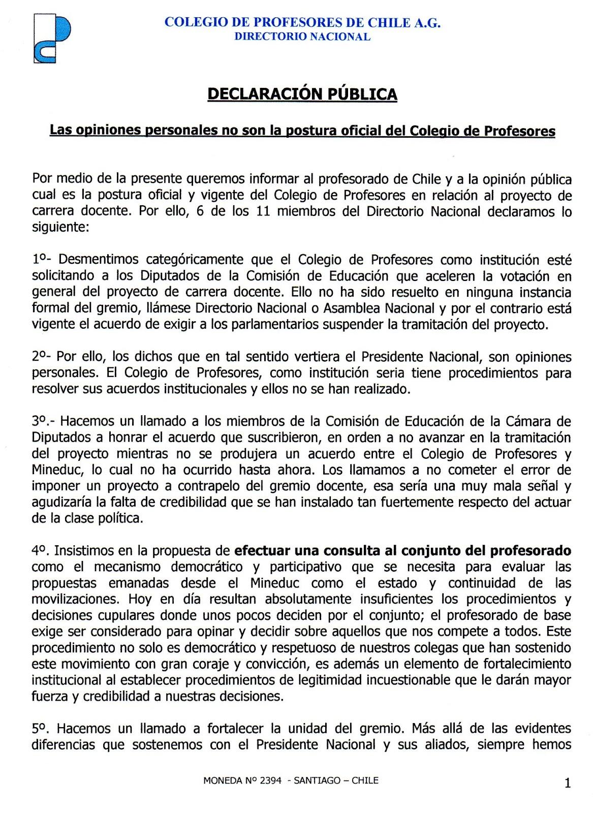 Colegio de Profesores Valdivia Regional los Ríos: 1/07/15