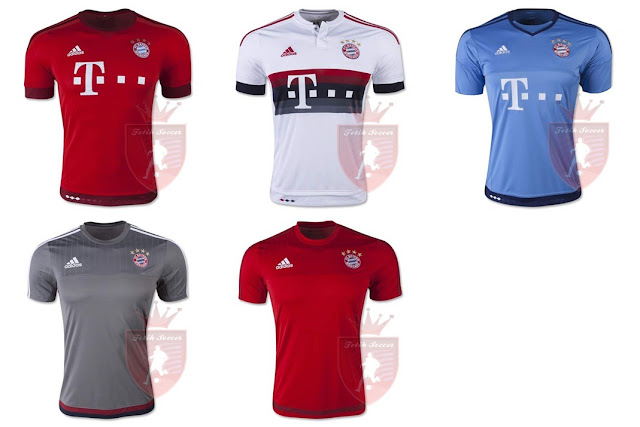 Jersey Bayern Munchen Home, Away, Third 2015-2016