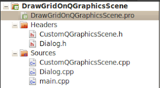 Qt project cpp and header files for draw grid on qgraphicsscene