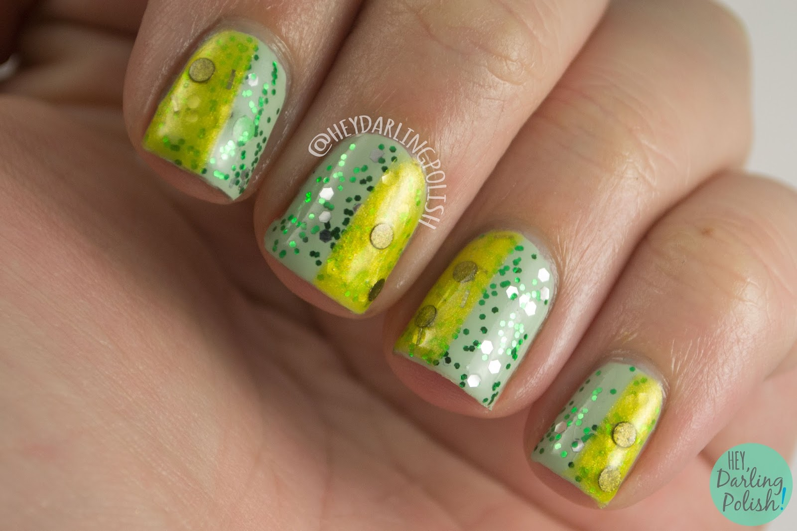nails, nail art, nail polish, harry potter, green, yellow, just and loyal, cunning and resourceful, hey darling polish, glitter, indie, indie polish, fandom cosmetics