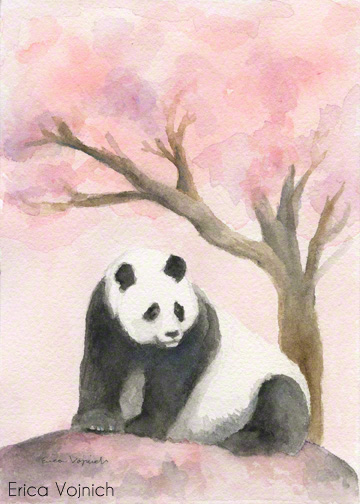 panda art cherry blossom breast cancer awarness
