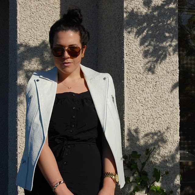 Stylestalker white leather vest, black jumpsuit and Zara sandals