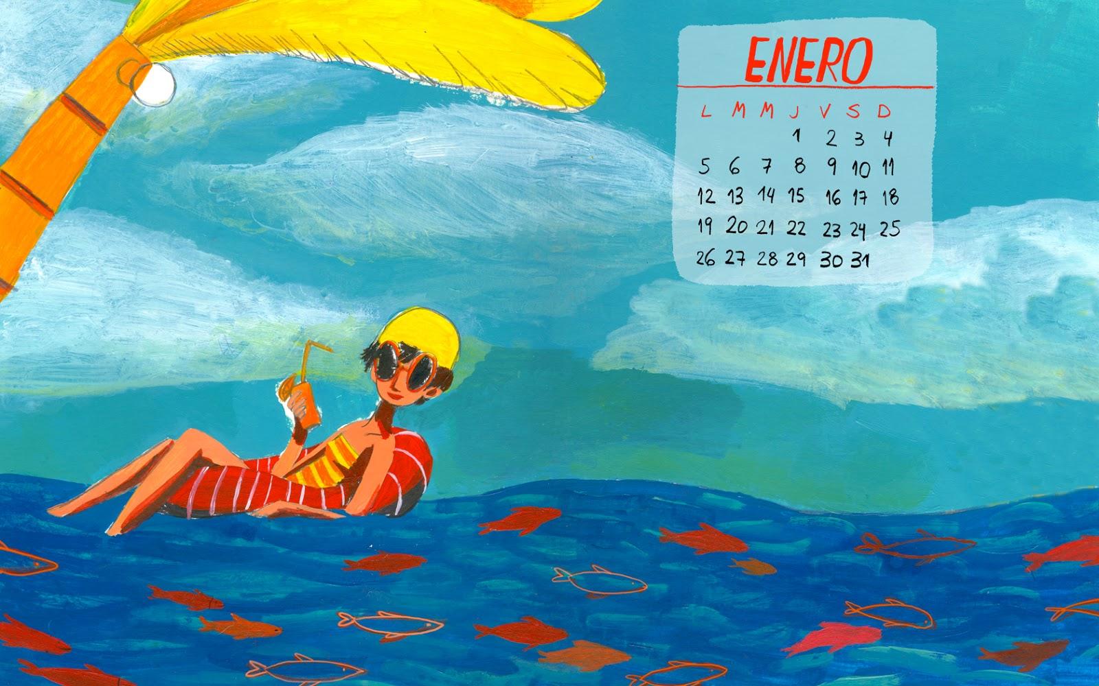 sole otero . la pelusa de los días: calendario wallpaper. enero 2015