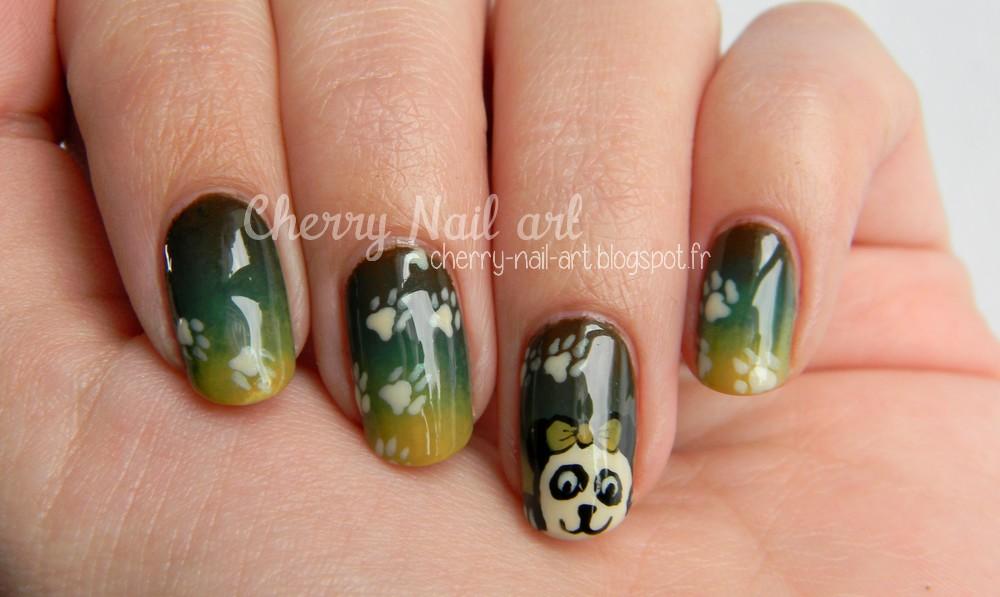 nail art panda et dégradé facile au vernis