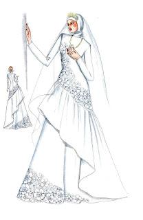 Sketsa Desain Gaun Pengantin Muslim