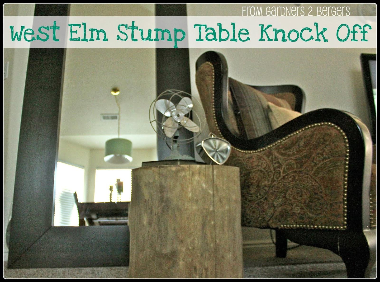 From Gardners Bergers DIY West Elm Tree Stump Table - West elm wood stump side table