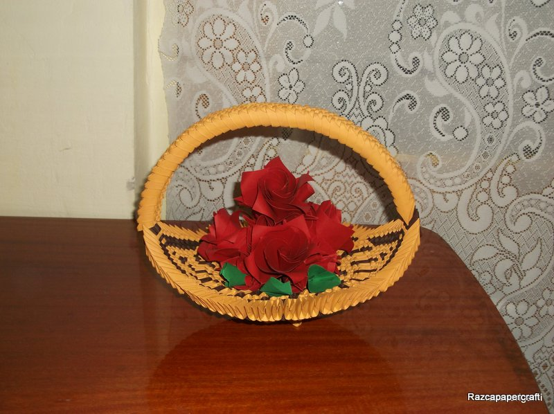 razcapapercraft 3d origami basket with flowers 3