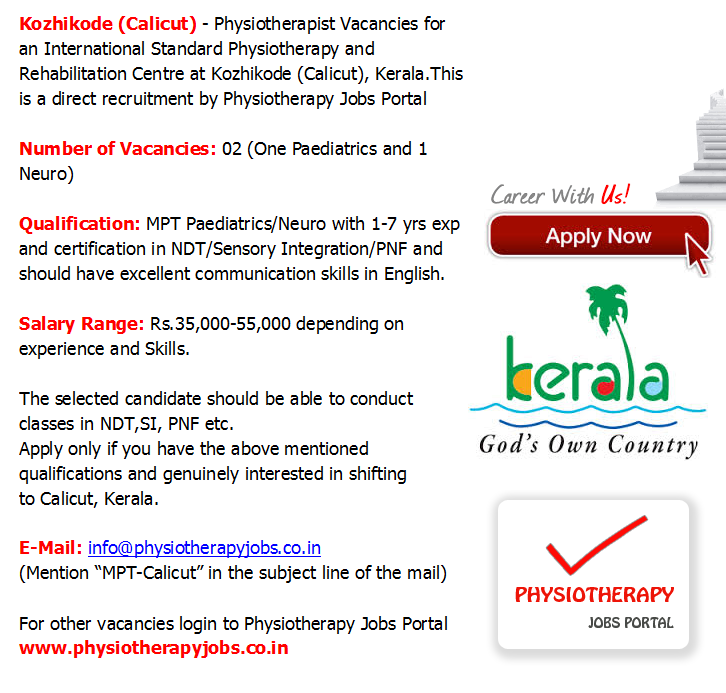 Physiotherapy Jobs Physiotherapist Vacancy In Kerala February 2015