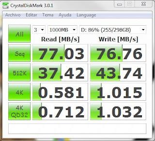 Imagen de ejemplo de CrystalDiskMark con un disco Samsung de 320 gigas