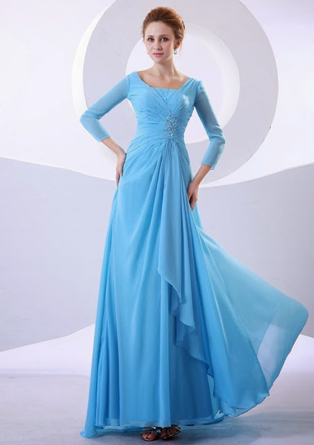 2013-2014 Style A Line-3-4 Sleeves Blue Sky Chiffon Floor Length Mother Of The Bridal Dresses 2013-2014