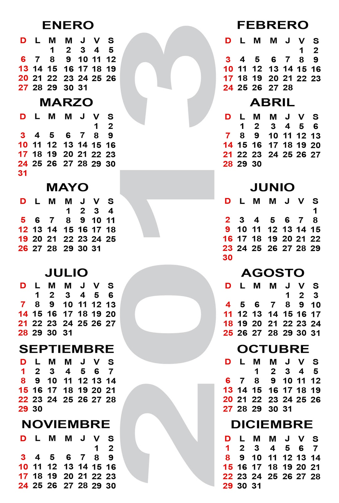 Free 2013 Calendar Images and 2013 Calendar Templates