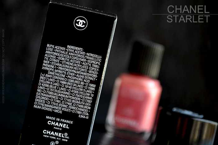 Chanel Nail Polish Starlet 575 Avant Premiere Makeup Collection Swatch Photos Review NOTD Indian Beauty Blog Ingredients