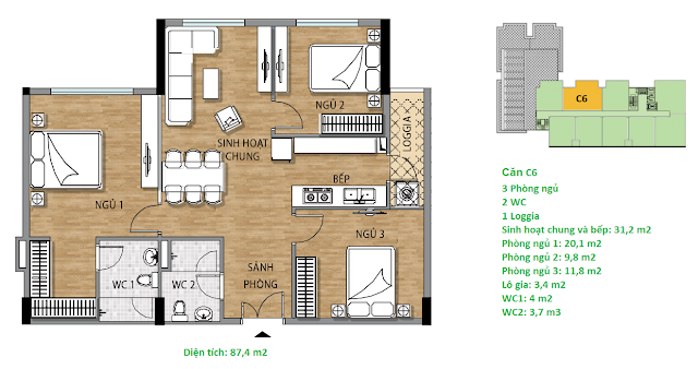 Căn hộ C6 diện tích 87,4 m2 tầng 8-9 - Valencia Garden