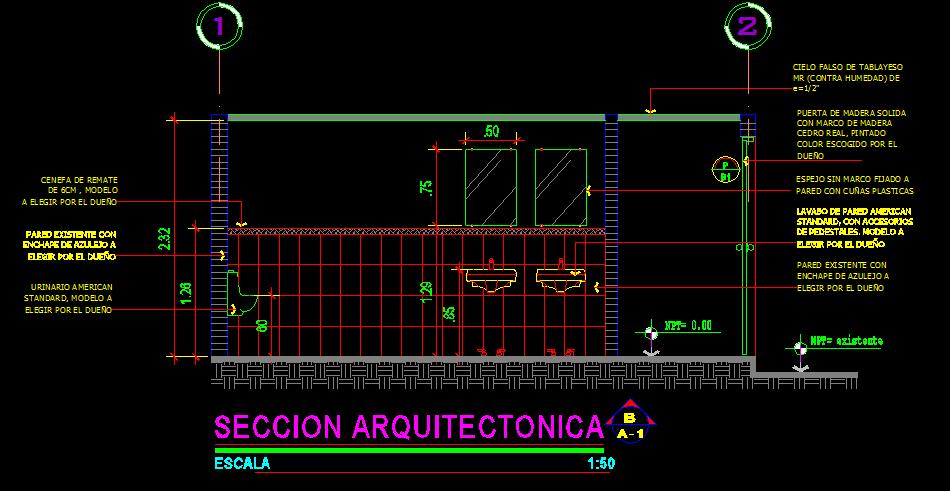 Cortes y secciones en dibujo tecnico for Cortes arquitectonicos