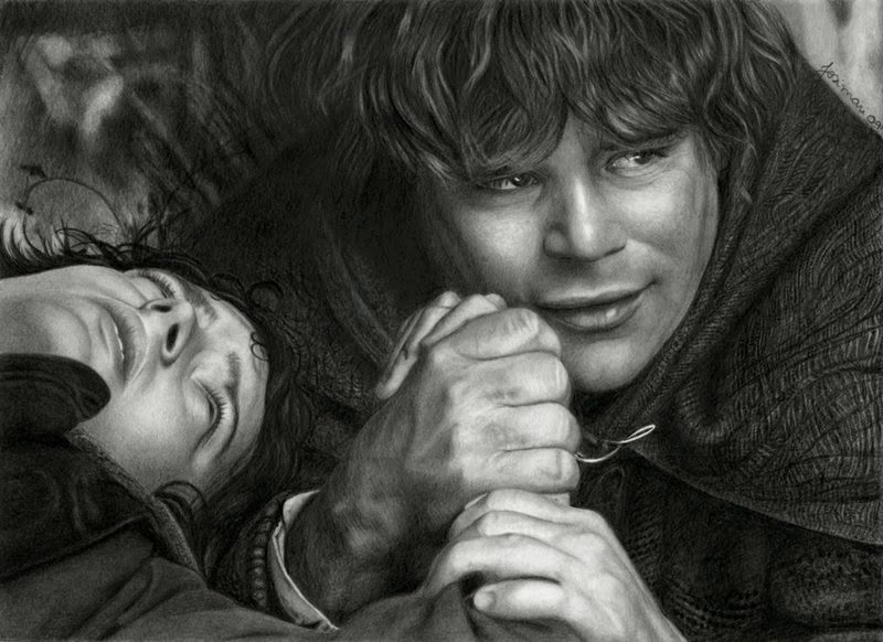09-Frodo-Baggins-Elijah-Wood-Sam Sean-Astin-Josi-Fabri-Esteljf-The Hobbit-LotR-www-designstack-co