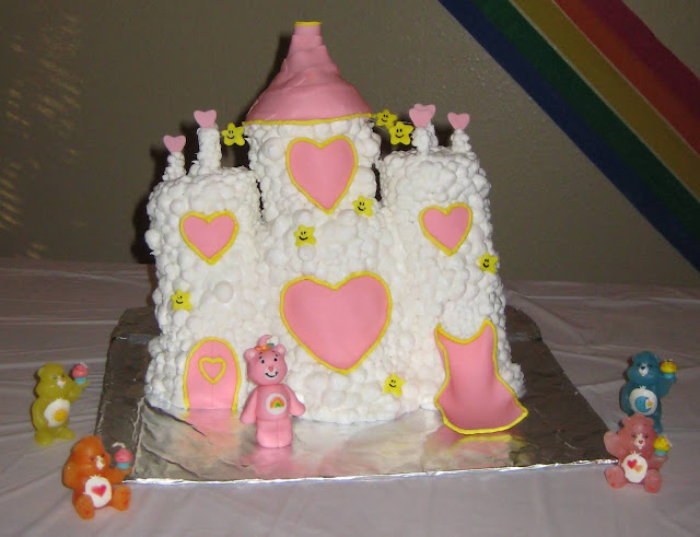 Care Bear Cloud Castle Cake - Care Bear Candles Around Cake 1