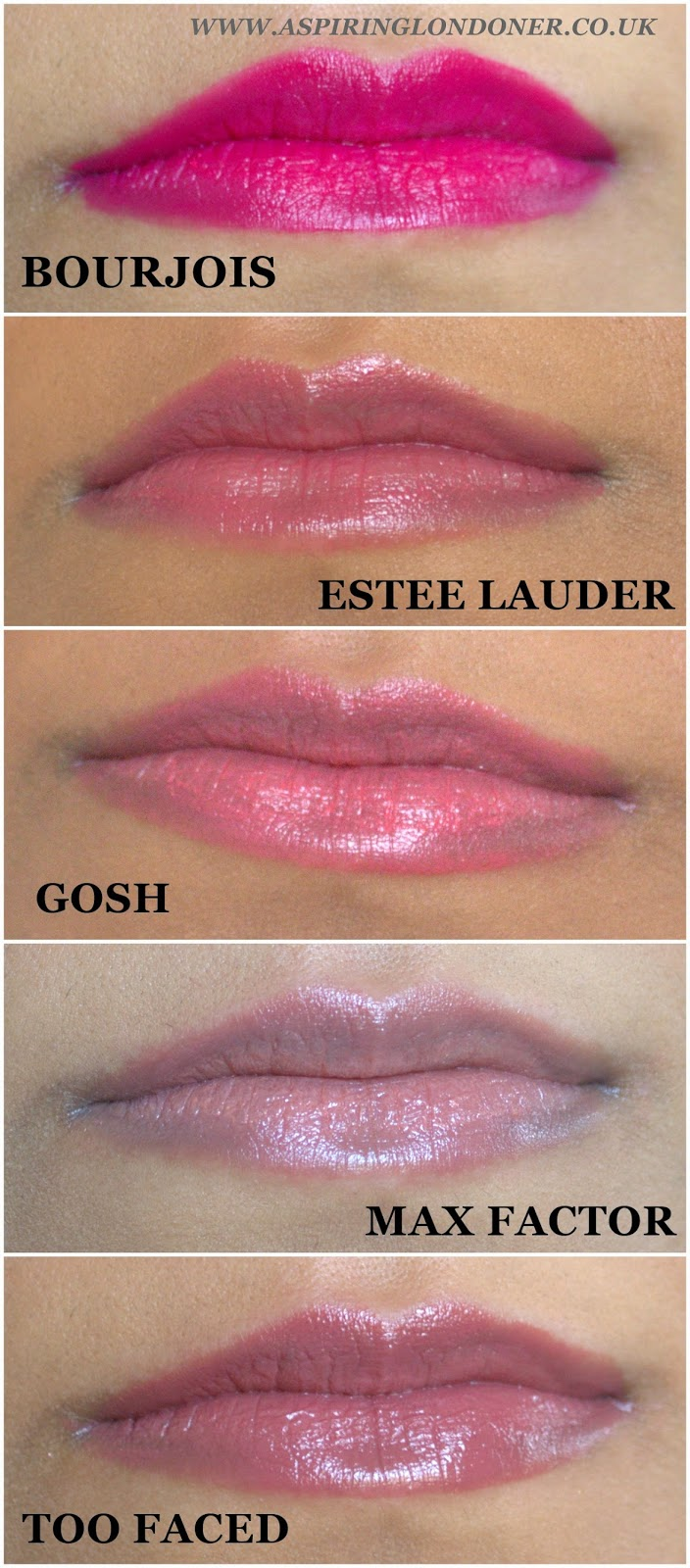 Spring Lipstick Swatches ft Bourjois, Too Faced, GOSH, Estee Lauder, Max Factor - Aspiring Londoner