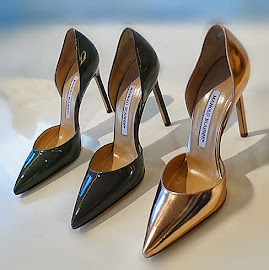 Manolo Blahnik Tayler patent leather pointed toe d'Orsay pumps