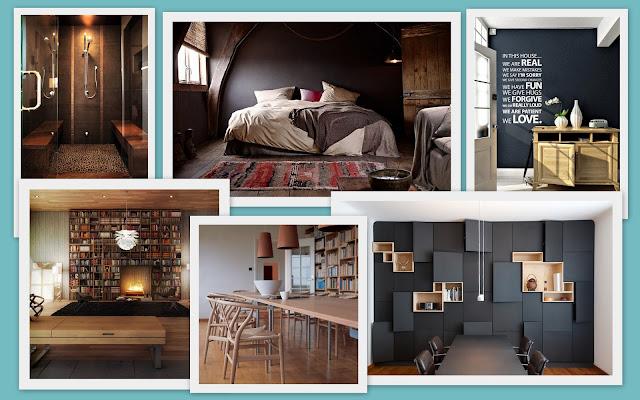 interiores modernos en negro, piedra y madera