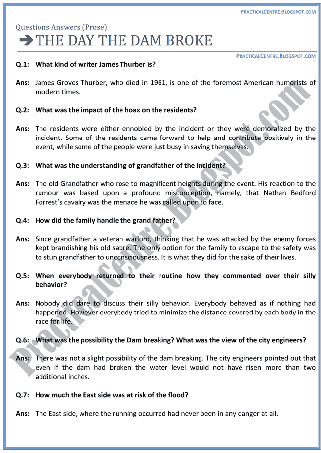 The-Day-The-Dam-Broke-Prose-Questions-Answers-English-XII