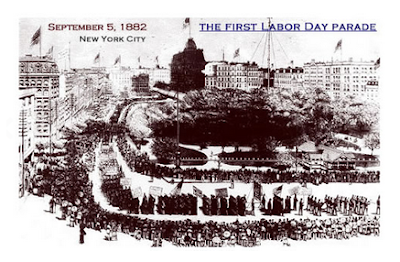 "Image of the first Labor Day Parade in New York City, Sept. 5, 1882.  The holiday was organized by the Central Laro Union to exhibit ""the strength and seprit de corps of the trade and labor organizations"" of the community, and to host a festival for the workers and their families."
