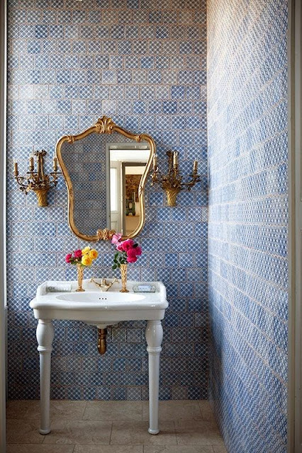 blue moroccan tile bathroom