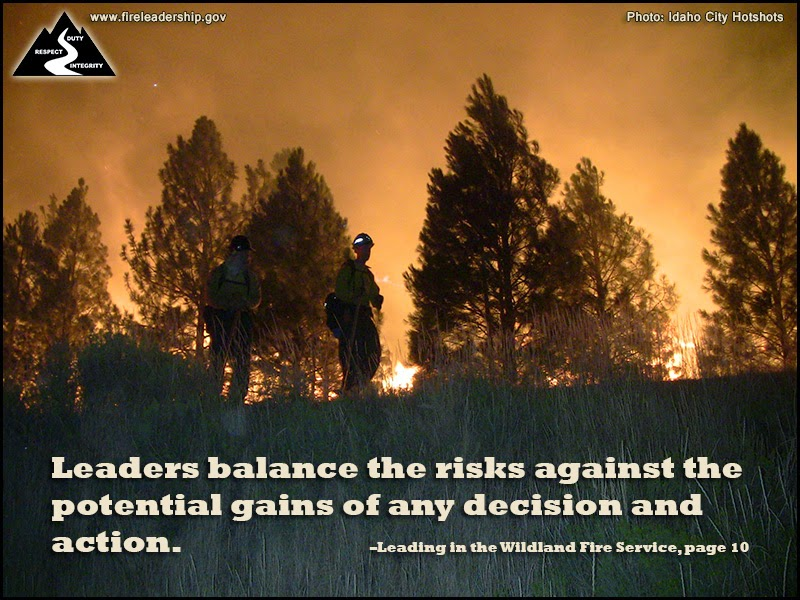 Leaders balance the risks against the potential gains of any decision and action. – Leading in the Wildland Fire Service, page 10