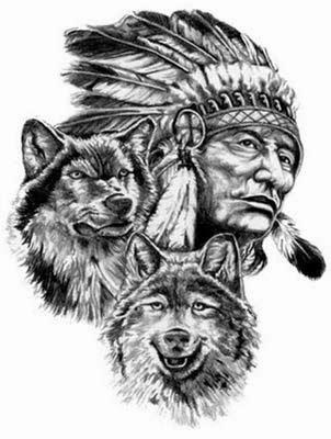 Modelo de desenhos de indio com lobos
