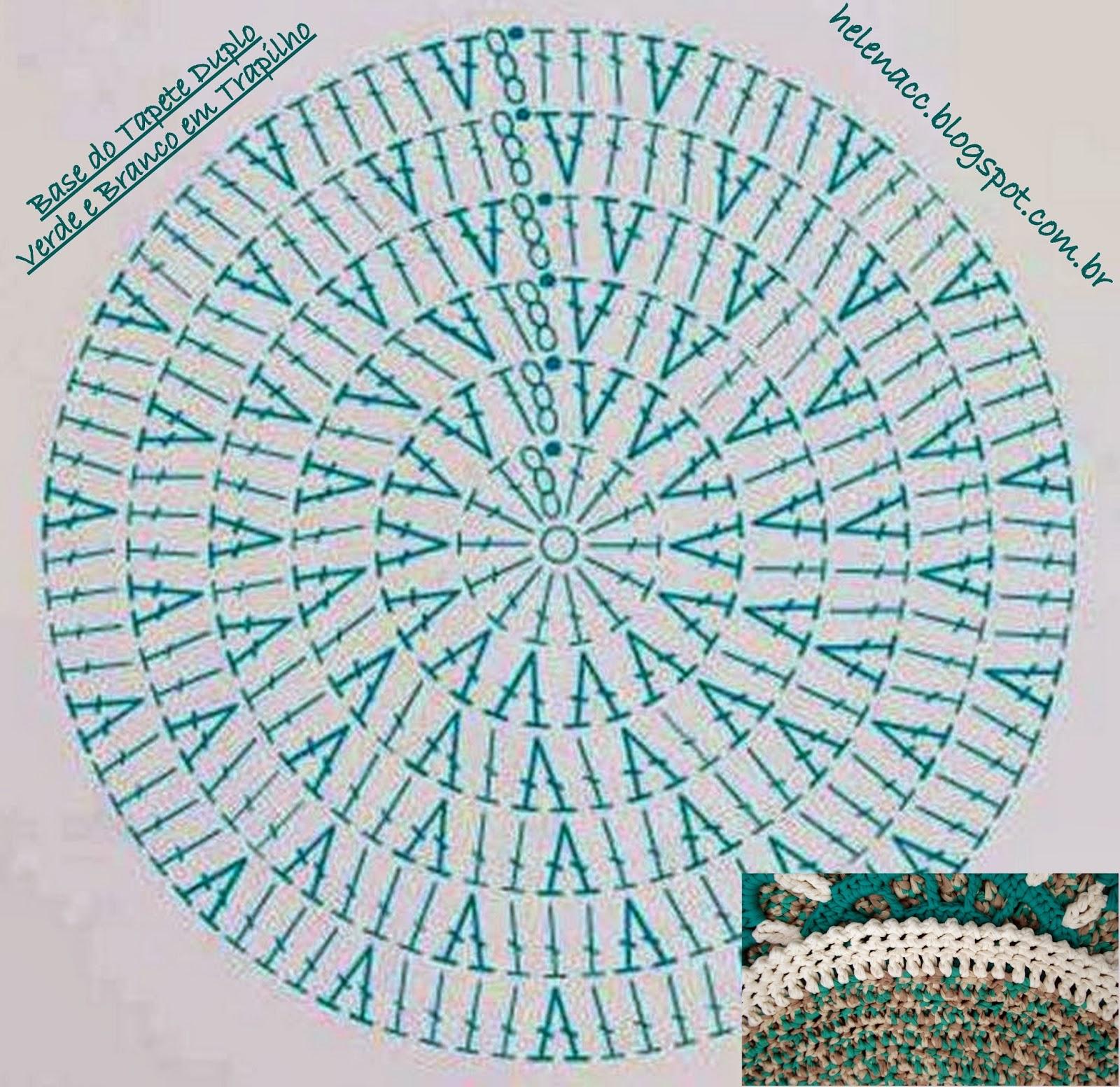 Круглый коврик связанный крючком схема