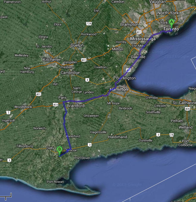 Toronto to Norfolk County