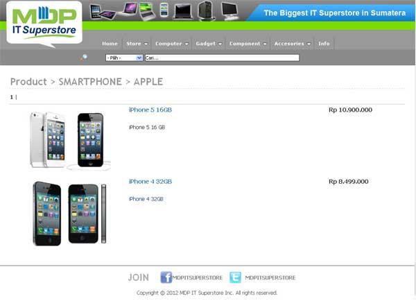 Referensi Harga iPhone 5 di MDP IT SuperStore
