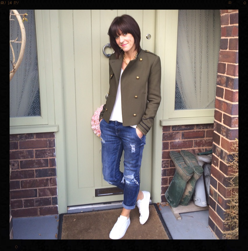 My Midlife Fashion, Khaki, Military, Army, Distressed Denim, Boyfriend Jeans, Trainers, Zara, Mango
