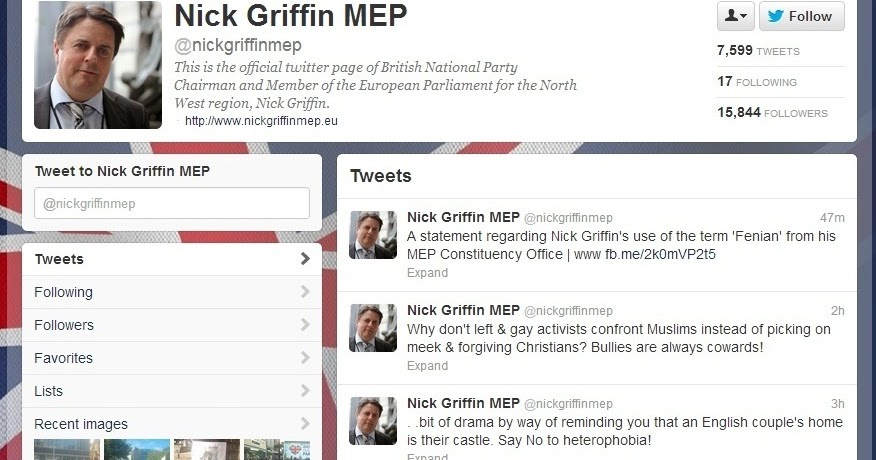 news anger nick griffin tweets couples home address