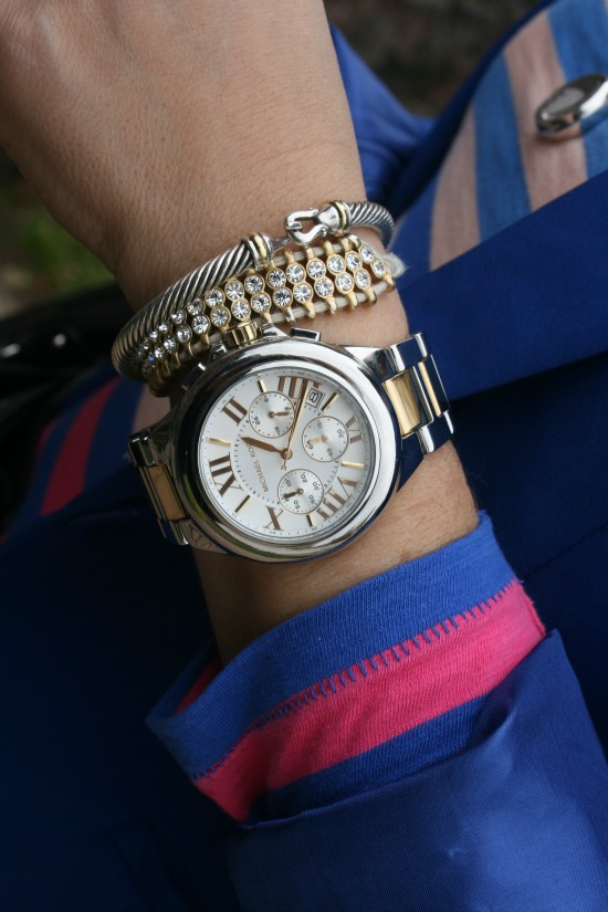 Michael Kors Mid-Size Silver Color Golden Stainless Steel Camille Chronograph, David Yurman 5mm Cable Buckle Bracelet