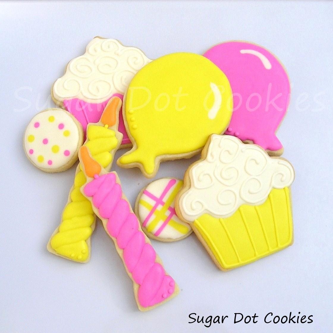 mini bite sugar cookies Round Birthday Sugar Cookies