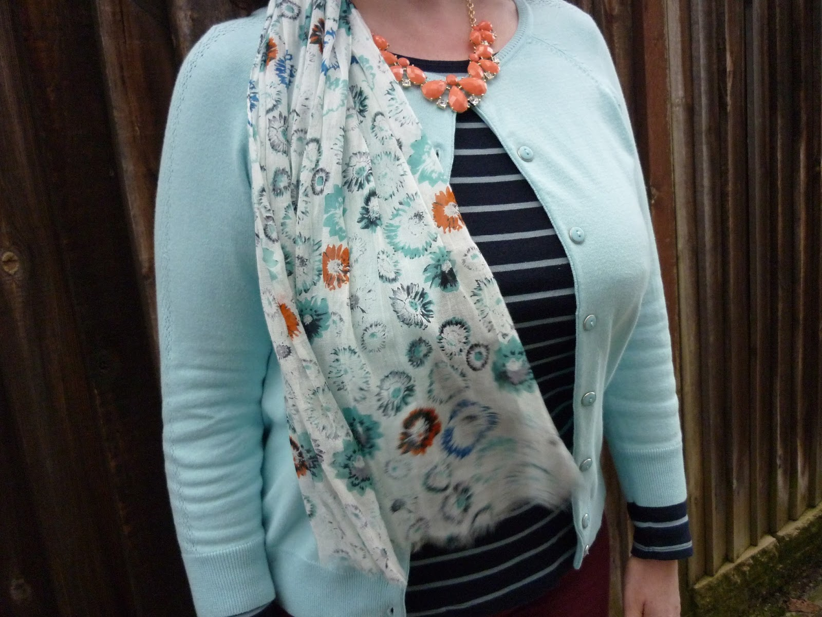 Striped tee, petite Dorothy Perkins Cardigan National Trust Scarf | Petite Silver Vixen