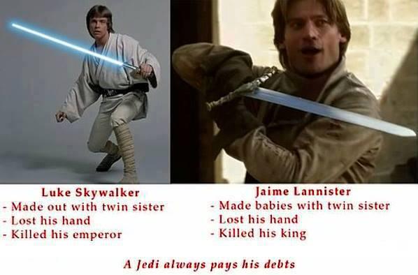 Jaime Lannister Luke Skywalker similitudes - Juego de Tronos en los siete reinos