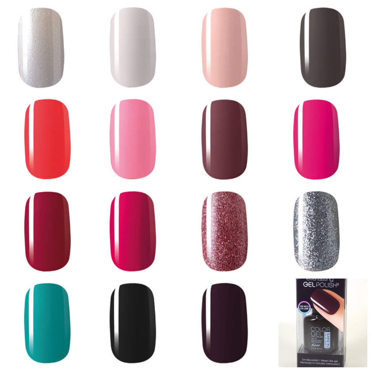 Kiss Everlasting Gel Polish & Pro LED Gel Lamp (Pictures with Swatch ...