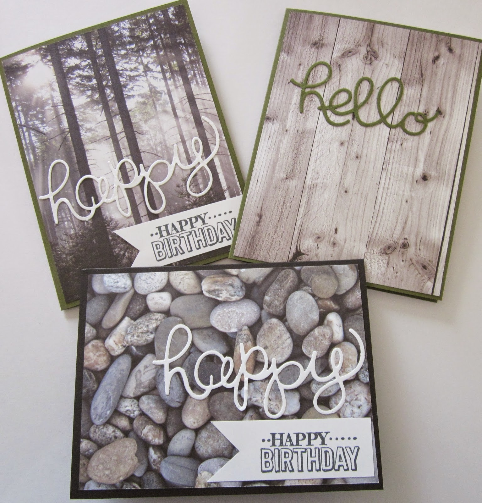 Quick and Easy cards using Adventure Bound paper stack, Hello You Thinlits dies, Basic Black, Whisper White, and Mossy Meadow Cardstock, with Big Day stamp set and Memento Tuxedo Black ink.
