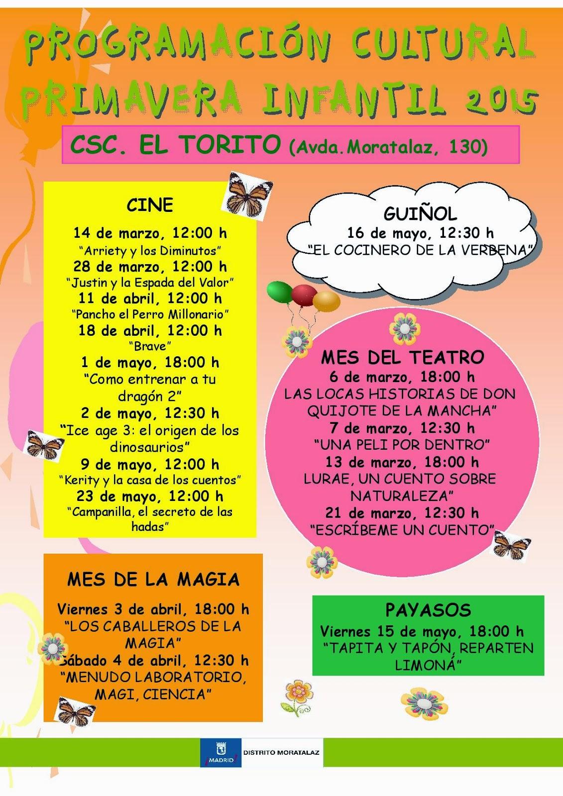 Programación Infantil Primavera 2015 en Moratalaz.