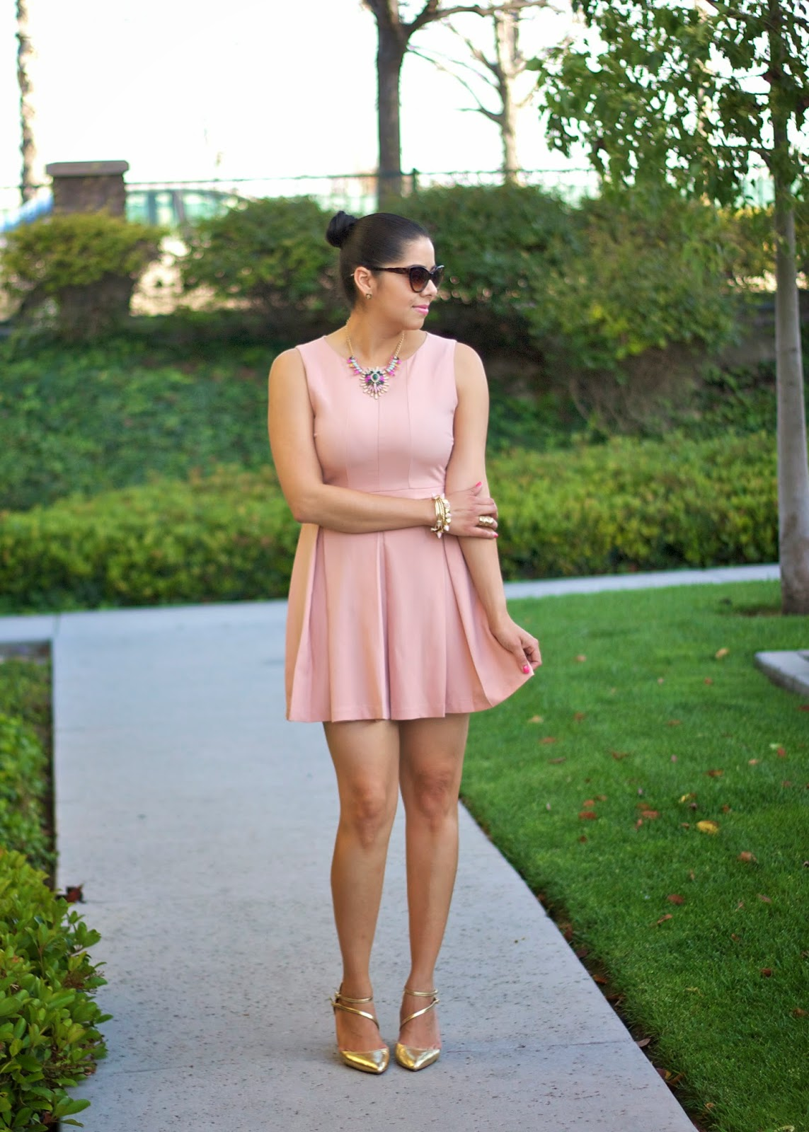 how to wear blush and gold, chic girly outfit, ballerina outfit, san diego blogger
