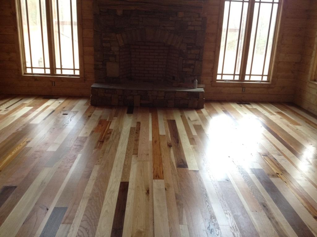Blue ridge surplus mosaic prefinished hardwood flooring for Prefinished flooring