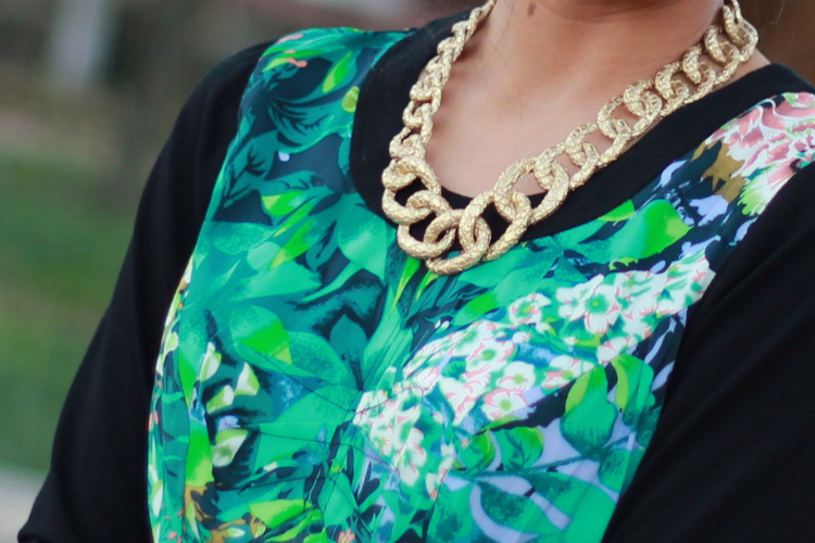 Talbots croc-etched gold chain necklace