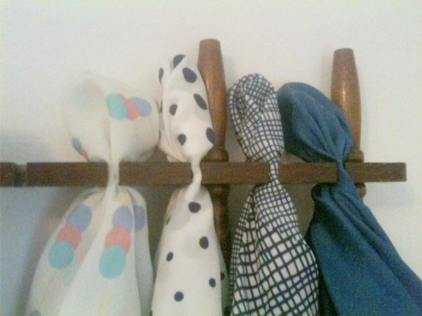 DIY scarf hanger, scarf, rack, display, organizer, vintage scarves