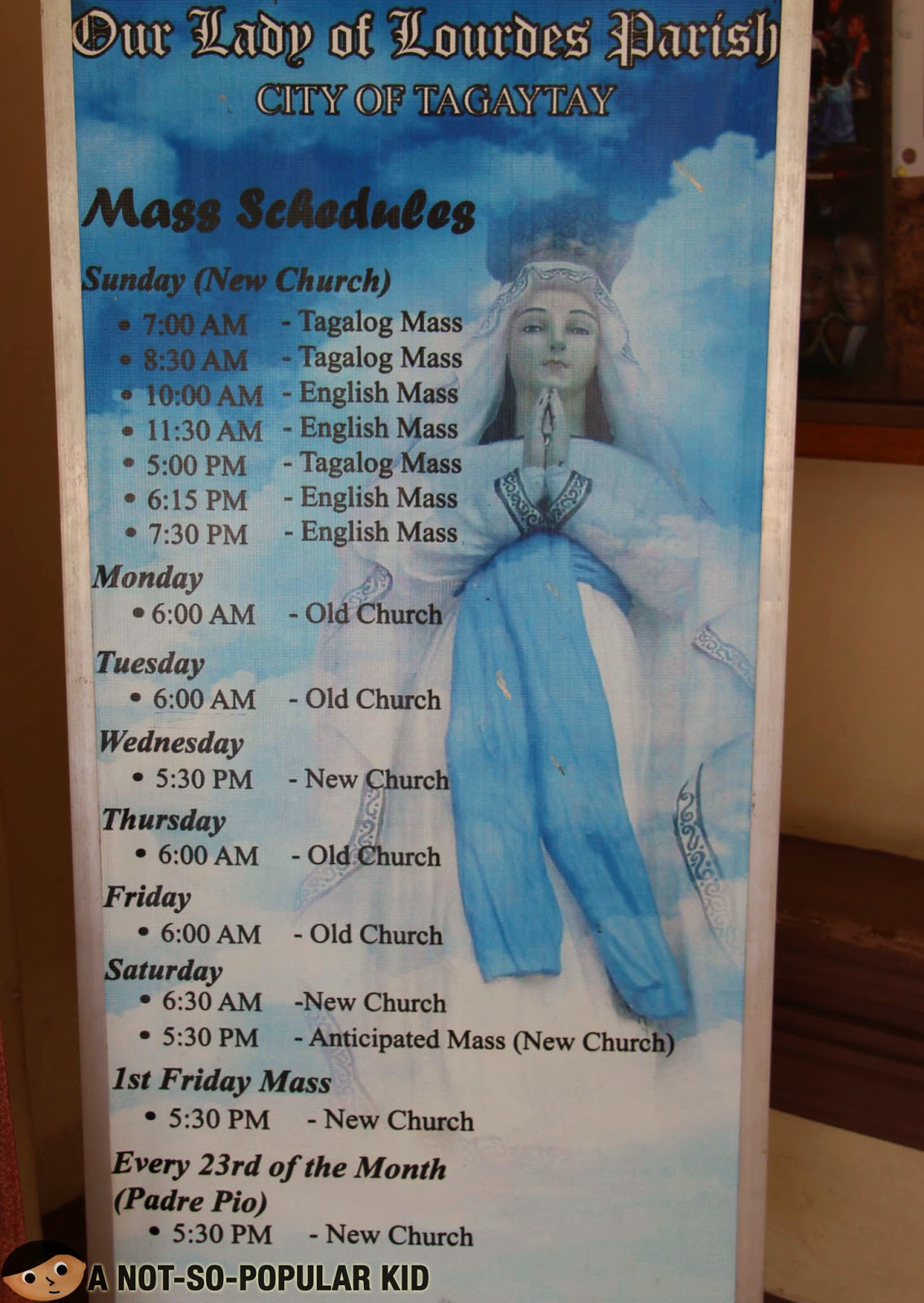 Our Lady of Lourdes Parish (Tagaytay) Mass Schedules