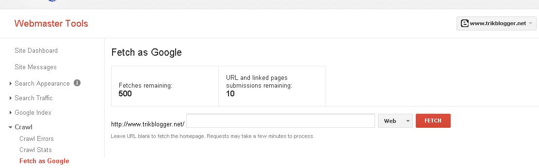 menggunakan fetch as google agar cepat terindex